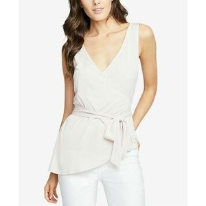 Rachel Roy Blush Pink Crossover Wrap Tie Top